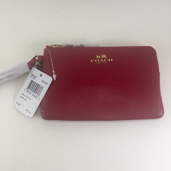 Coach Handbags - Coach true red corner zip leather wristlet